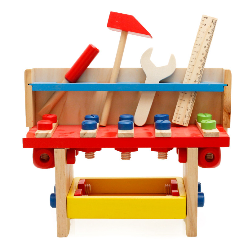 Baby Toys Children Educational Garden Tool Toys Project Combines Workbench Multifunctional Nut Wooden Toys Birthday Gift