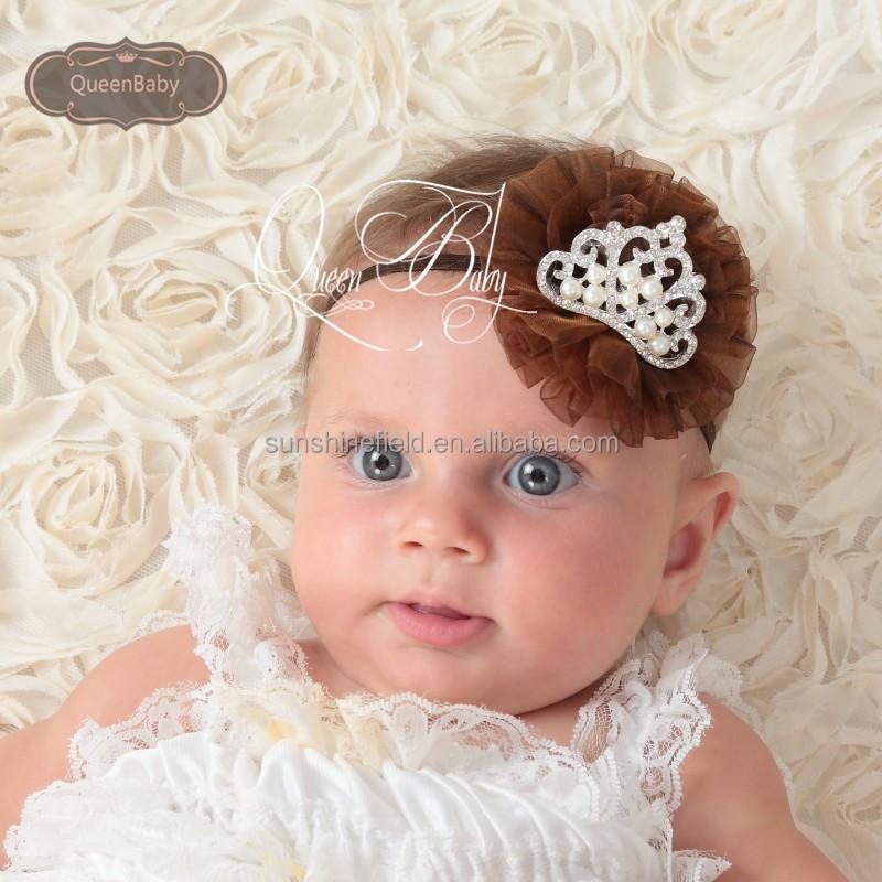 Tul flores con cristal y perla tiara diadema para niños niños