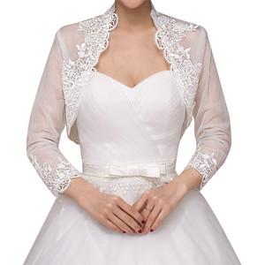 380972d79a 2019 fashion ivory red long sleeves shoulder wraps wedding shawls wraps  jacket coat bridal lace shrug bolero