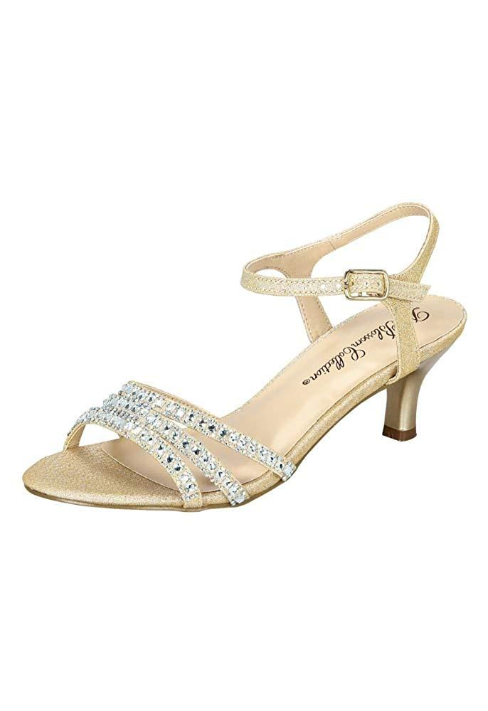 20af3bc70145 David s Bridal Strappy Low Heel Sandals Crystals Style BERK170