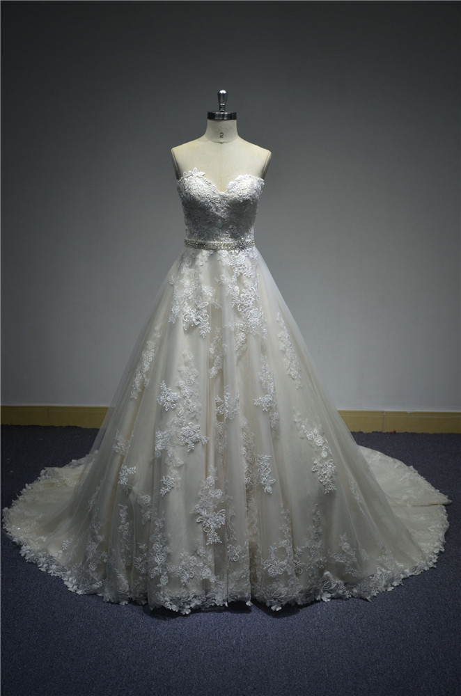 Strapless Beaded Sash Vintage Wedding Gown Sample Pictures - Buy ...