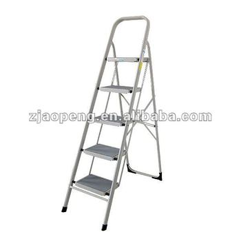 5 steps metal folding ladder with handrail