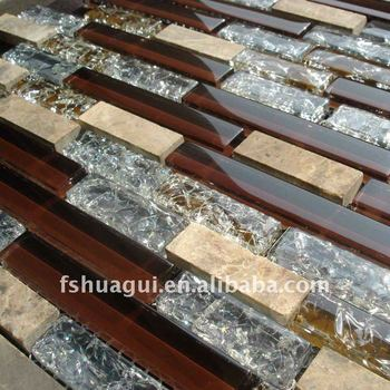 Hg Cdt020 Brown Color Crystal Glass Mix Stone Kitchen
