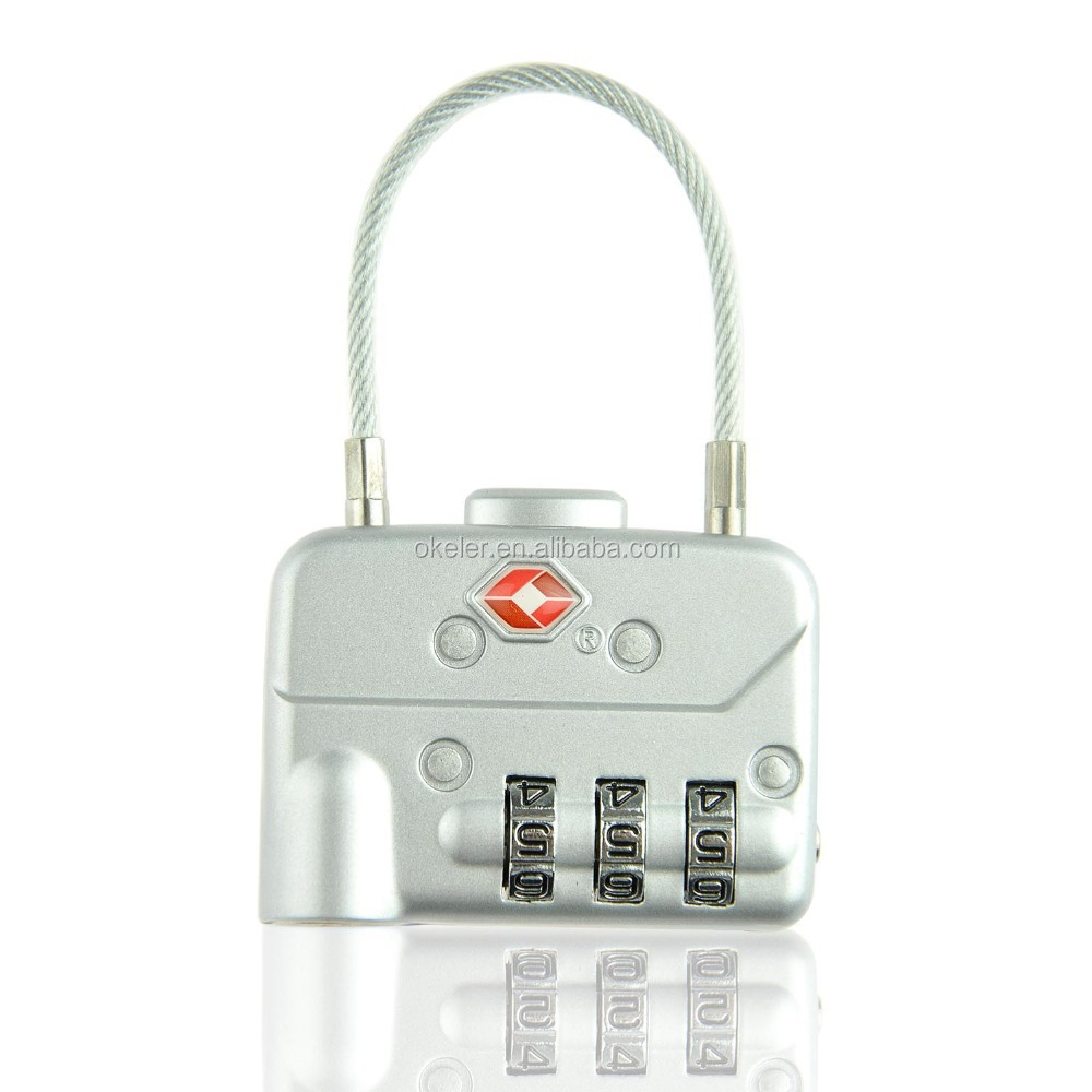 Christmas Gift Sliver Tone Travel Safe Professional Luggage 3 Digital Combination TSA Code Lock Padlock