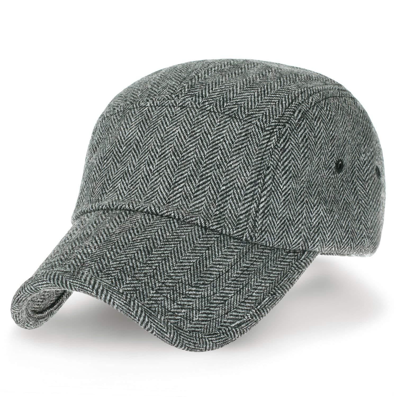 ililily Herringbone Pattern Military Army Hat Wool Blend Adjustable Cadet Cap