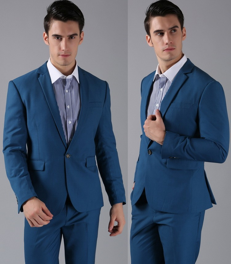 (Kurtki + Spodnie) 2016 Nowych Mężczyzna Garnitury Slim Fit Niestandardowe Garnitury Smokingi Marka Moda Bridegroon Biznes Suknia Ślubna Blazer H0285 63