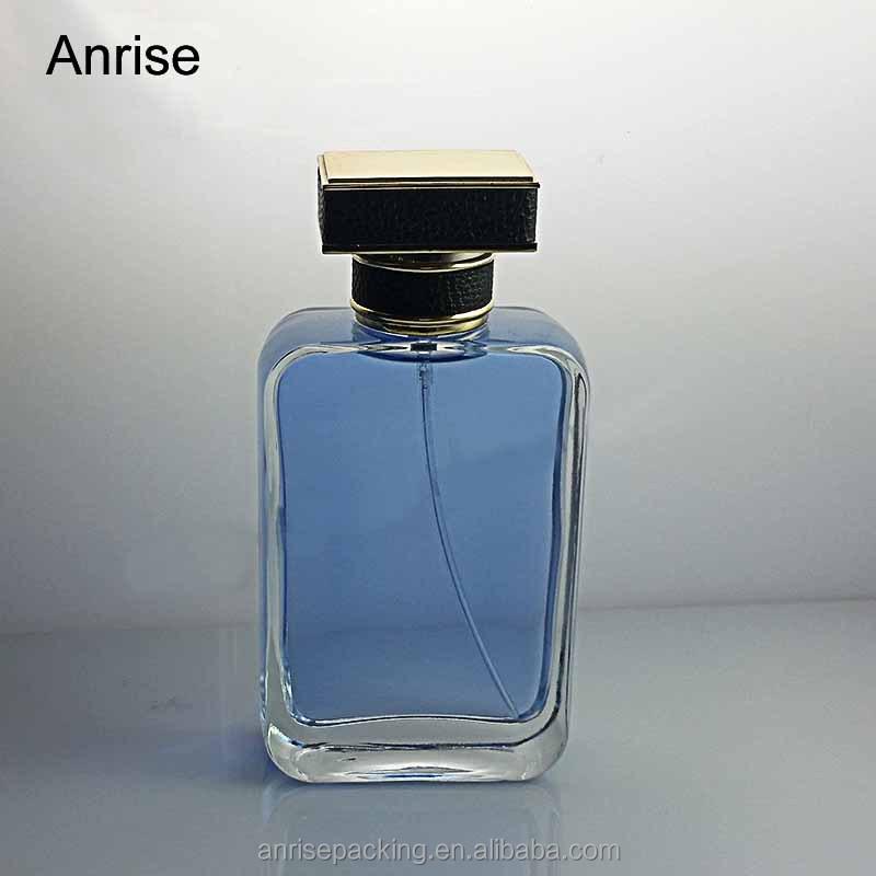 High-Level Finished Quality 100ml Blue Glass Rectangle Perfume Bottles Refillable Square Bottle with Black Plastic Lids