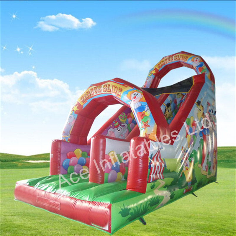 High Quality Double Lane circusTheme Inflatable Slip Slide for adult
