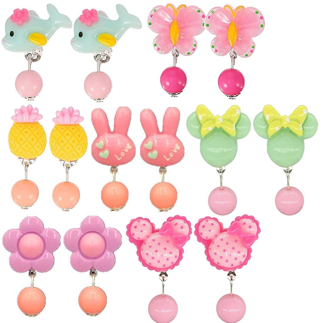TOODOO 14 Pairs Clip-on Earrings Girls Play Earrings for Party Favor All Packed in 2 Clear Boxes