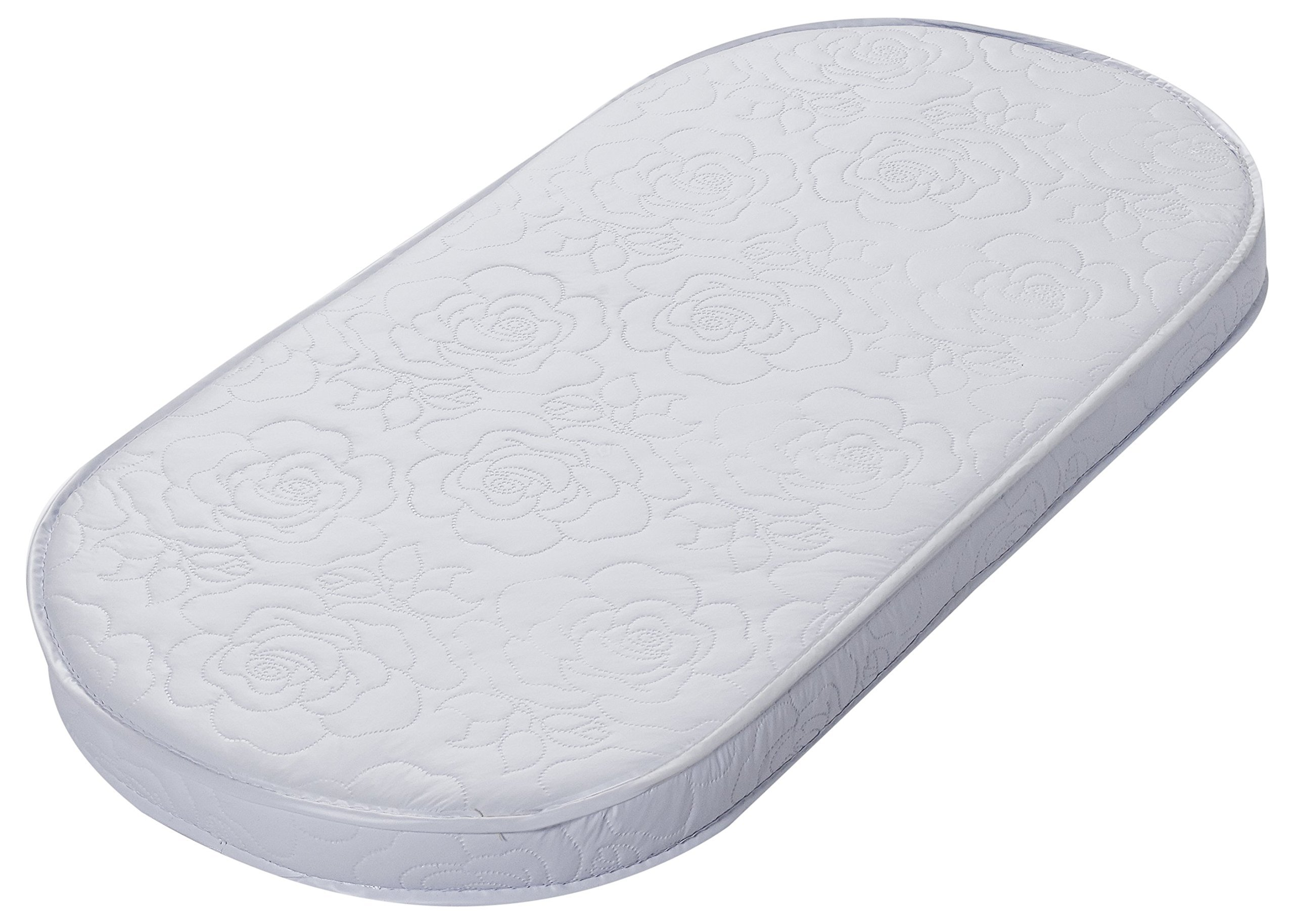 Big Oshi Quilted Waterproof Vinyl Rose Urethane Foam Bassinet Oval Mattress -