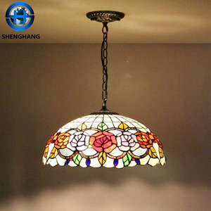 High Quality dragonfly pattern Hanging Lamp /china made antique dragonfly pendent lamp stained glass lamp shade