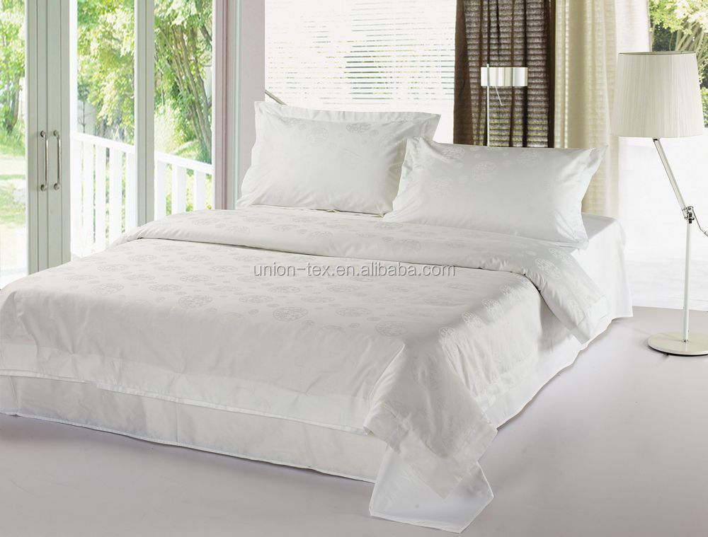 400T Plain White Queen Size 5 Star Hotel Egyptian Cotton Bed Sheets  Wholesale