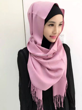 new design solid color viscose cotton tassles muslim shawl Scarf cashmere hijab Scarves hw216