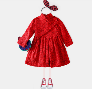Autumn fashion chilren lace girls party dress long sleeve flower kids girl dress