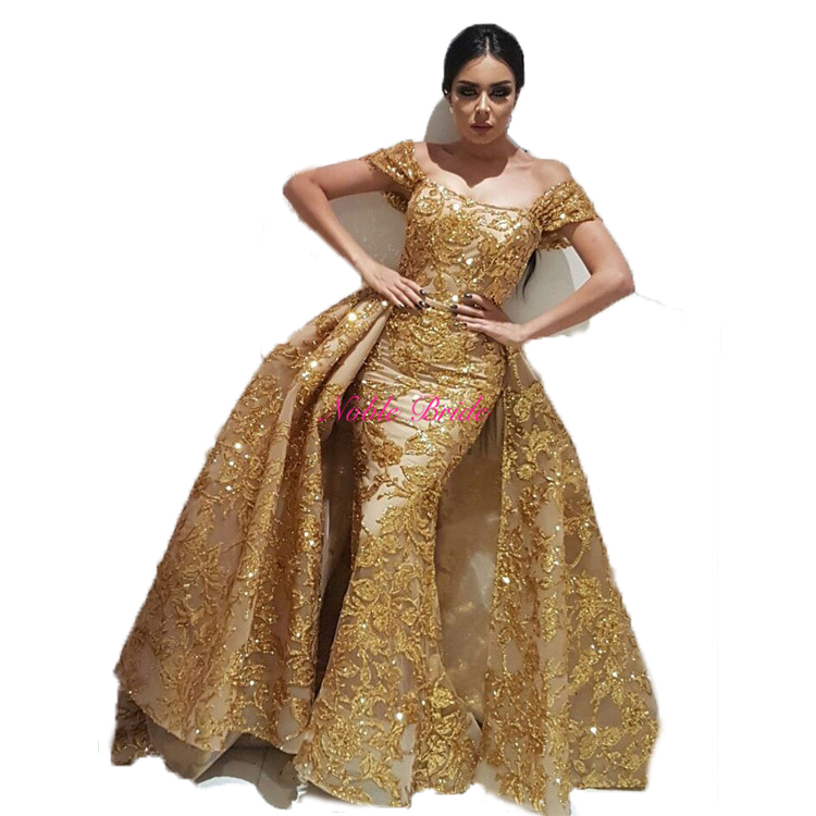 2018 Plus Size Evening Dresses Gold Prom Dress Luxury Ladies Long Lace  Evening Party Wear Gowns With Removable Overskirt - Buy Plus Size Evening  ...