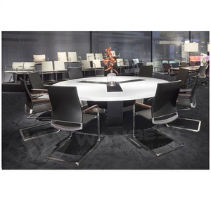 60 Inch Round Modern Conference Table Marble Metal Base