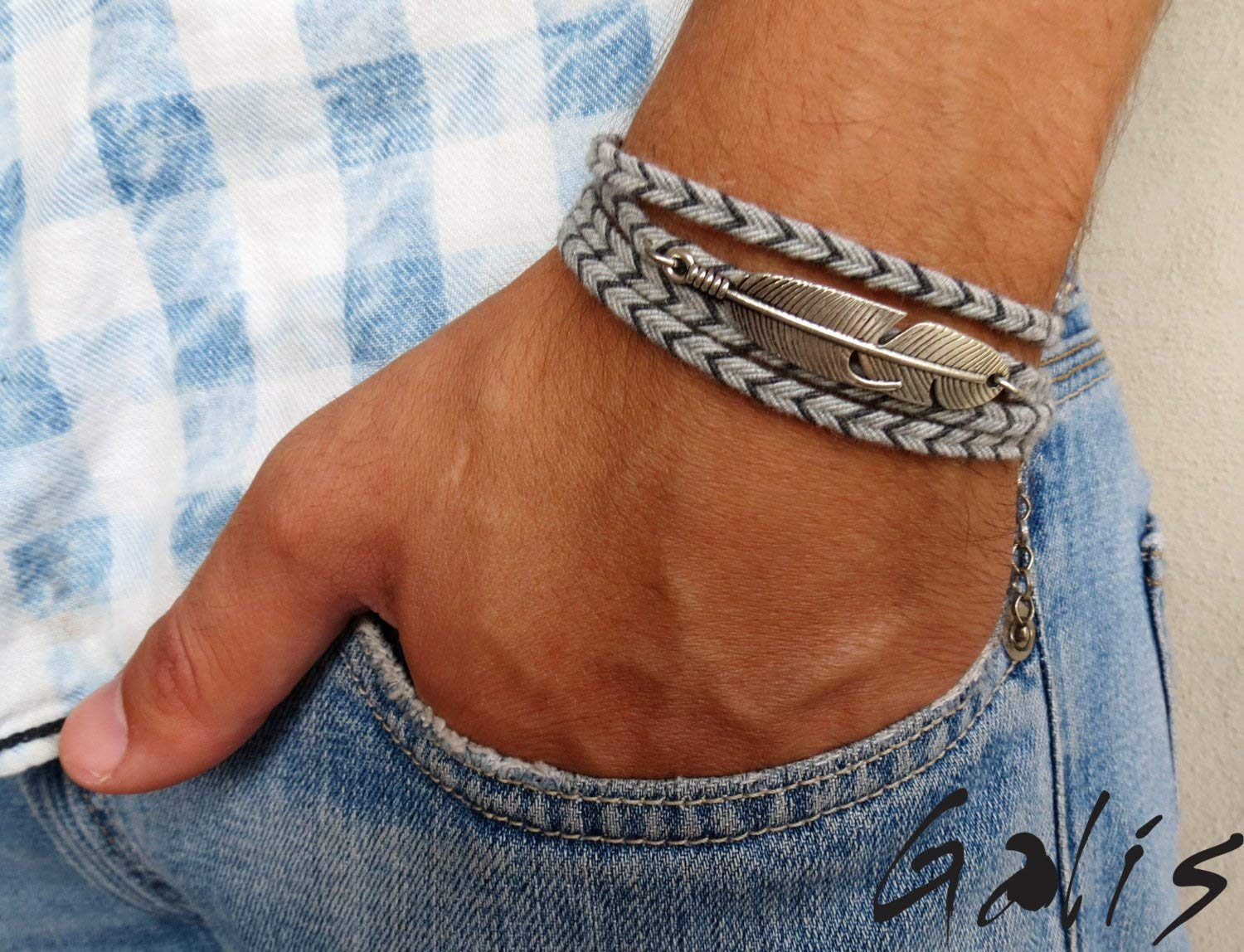 Handmade Wrap Gray Fabric Feather Bracelet For Men By Galis Jewelry - Wrap Bracelet For Men - Gray Beacelet For Men