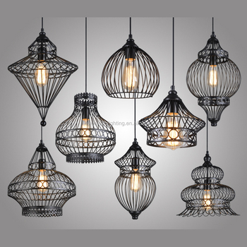 Modern Style Ceiling Light Wrought Iron Lamp Droplight Pendant Cage Chandelier