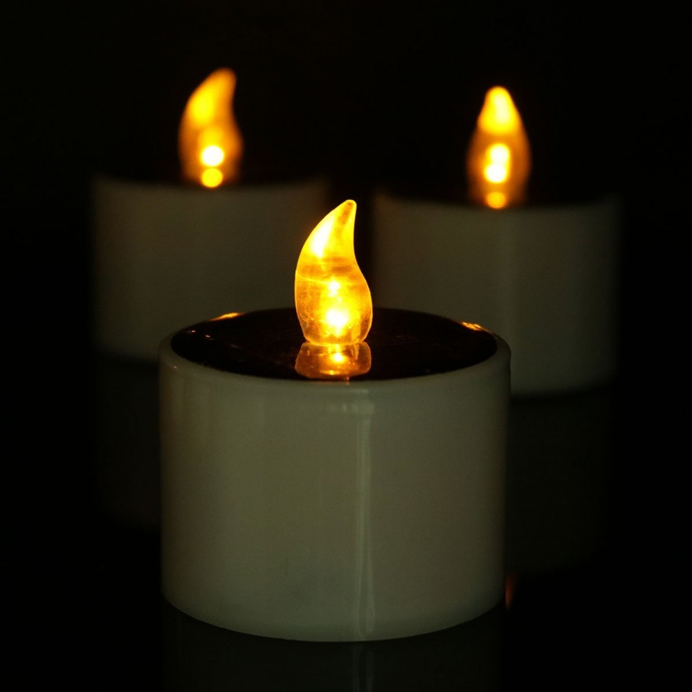 Solar Power Led Tealight Candles Sun Chargeable Yellow