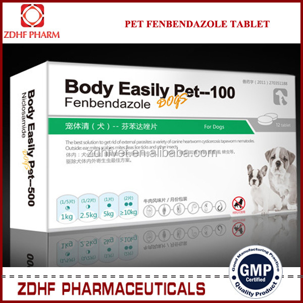 ZDHF brand pet deworming medicine Niclosamide 900mg Oxybendazole 100mg tablet for dogs cats