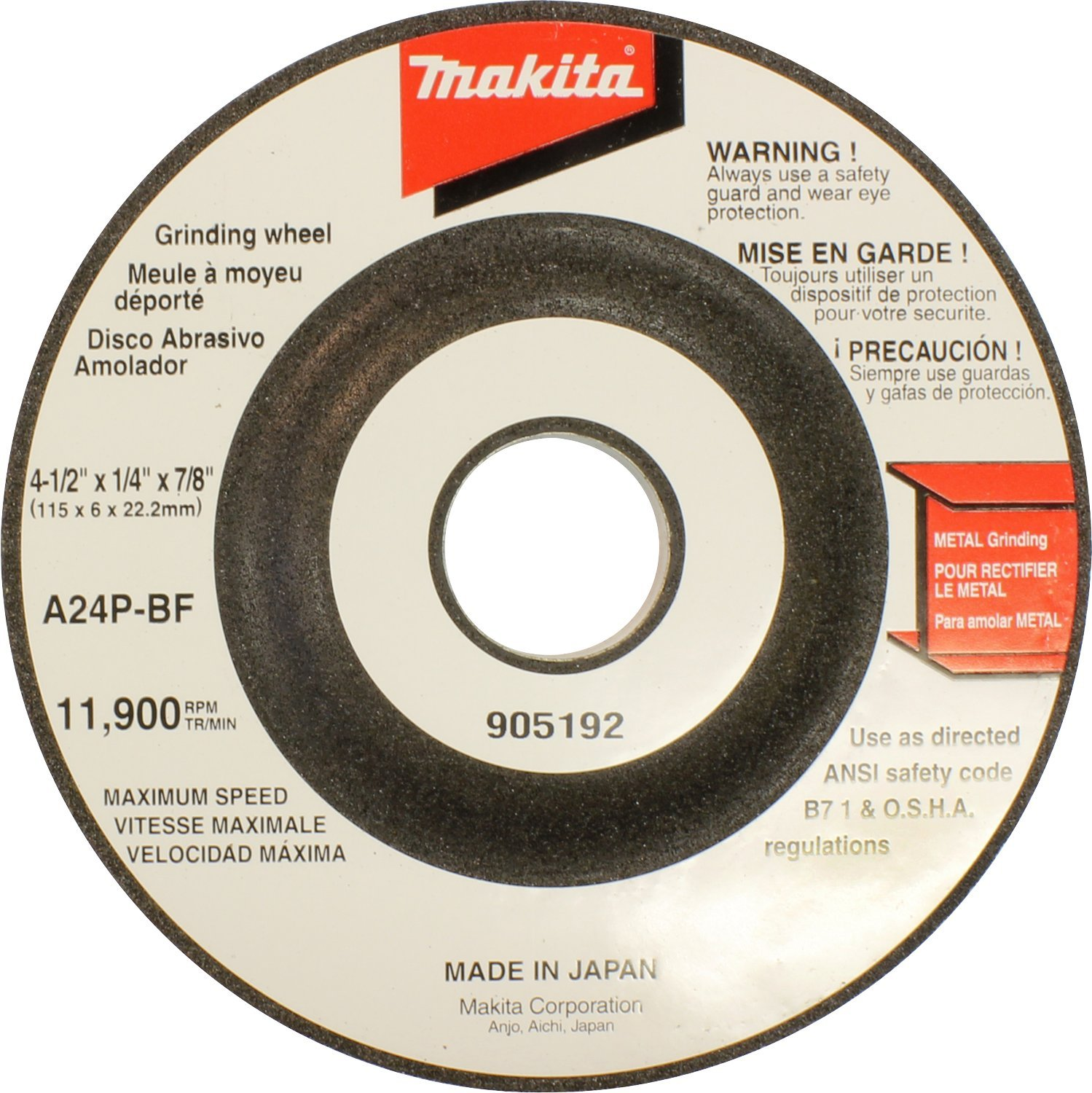 Makita 741423-0-1 4-1/2-Inch Number 24 Grind Wheel (Discontinued by Manufacturer)