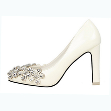 Wedding evening white rhinestone private label women pump shoes fancy design plus size lady office shoes