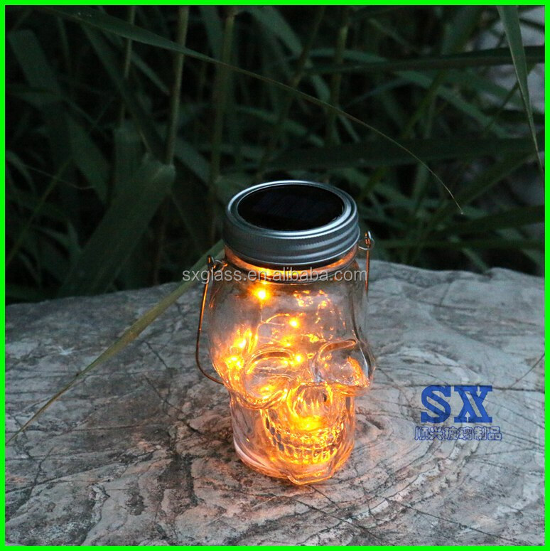 new designsolar skull head jar for halloween light