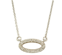 Sterling silver simple design gold oval circle shape pendant with necklace