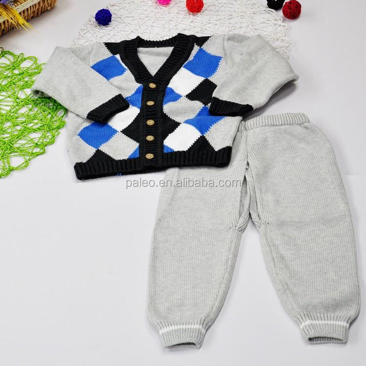 Rhombus Knitting Cardigan Suéter Traje De Cuello V Suéteres Niños ...
