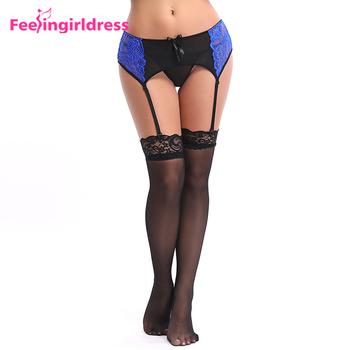 76d2b2460 Transparent Women Lingerie Plus Size Blue Lace Girls Wearing Garter Belts