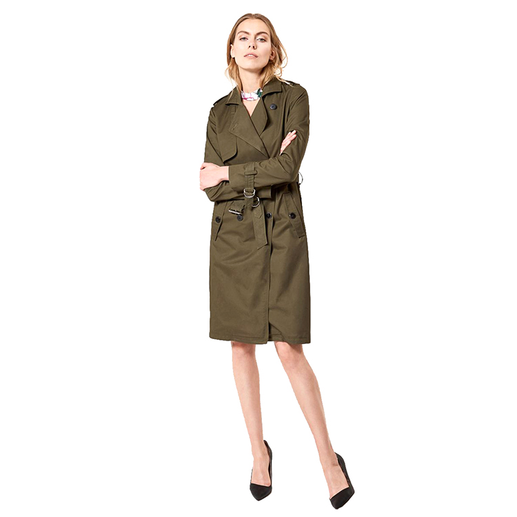 ladies 2018 autumn hot selling custom long Khaki double breasted <strong>trench</strong> <strong>coat</strong> belt replacement <strong>for</strong> <strong>women</strong>