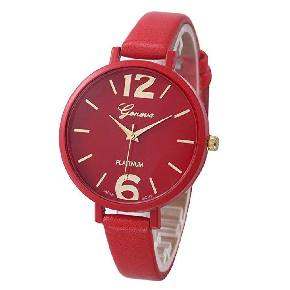 Womens Watches,Windoson Unique Analog Fashion Lady Watches Female Watches Casual Wrist Watches for Women,Round Dial Case Comfortable Faux Leather Watch (Red)