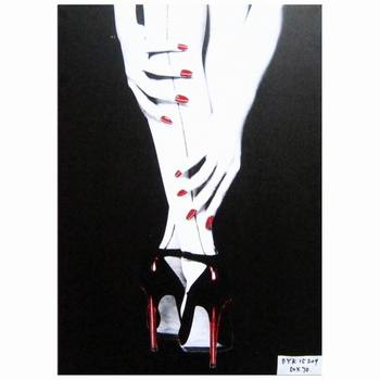 Nude Woman Thigh With Red High Heels Canvas Wall Art Painting Prints For  Bedroom