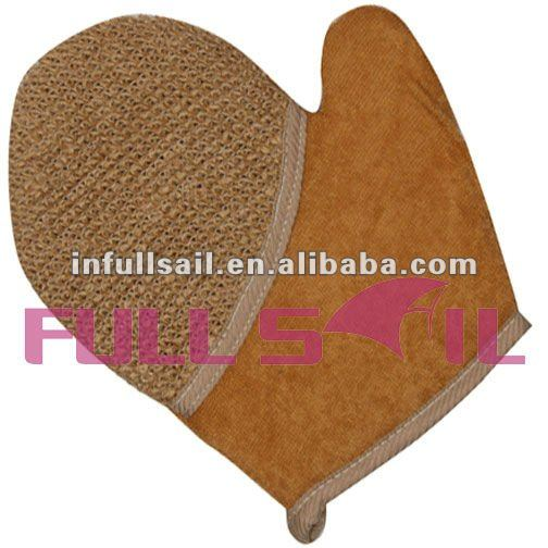 hot sale in amazon body scrub glove natural hemp sponge terry bath mitt