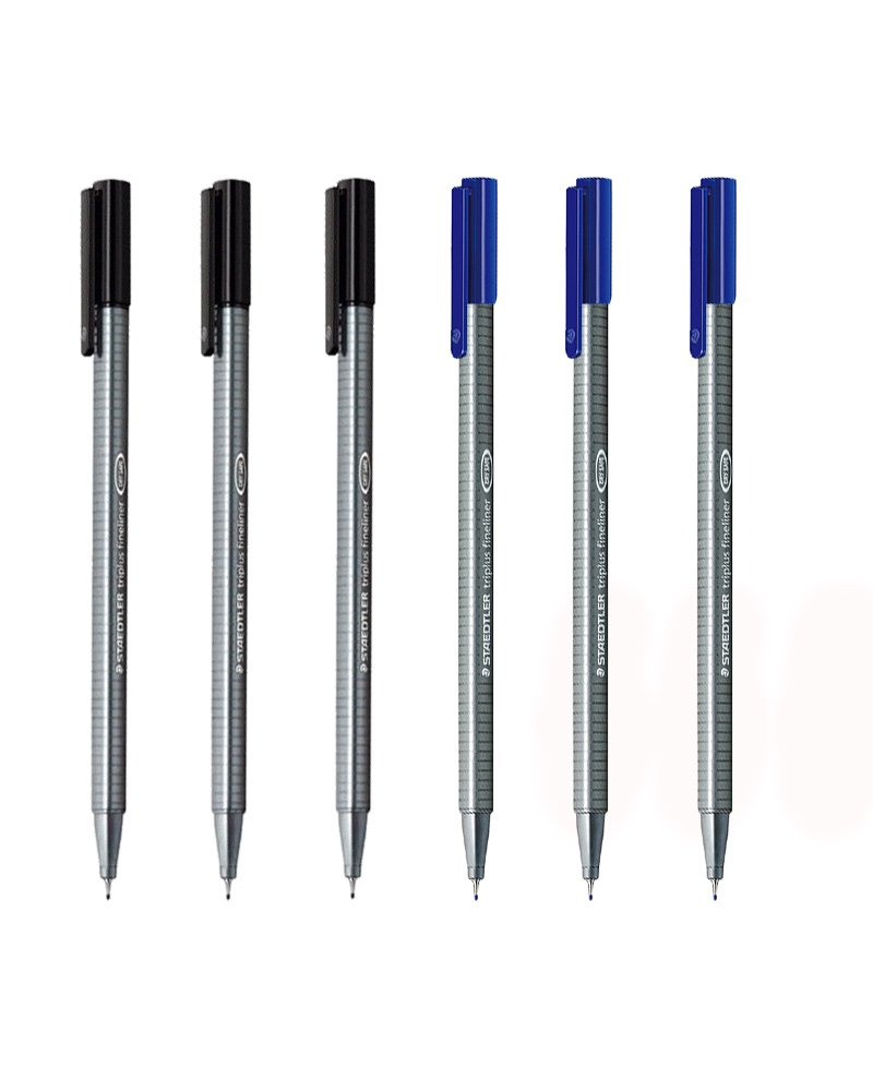 Staedtler Triplus Fineliner 0.3mm - Pack of Six (3 Black & 3 Blue)