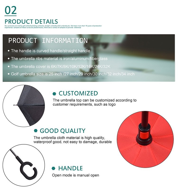 2018 new inventions Wholesale Reverse OEM ODM logo customized Full manual  Reserve umbrella