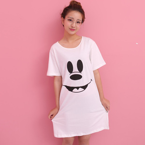 9f5a93b69393 Summer Arrival 100% Cotton Sleepwear Nightgown Women Nightdress Female  O-neck Shirt Lounge Home