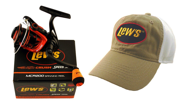 Bundle - Lew's Mach Crush MCR200 6.2:1 Speed Spin Spinning Reel + Hat