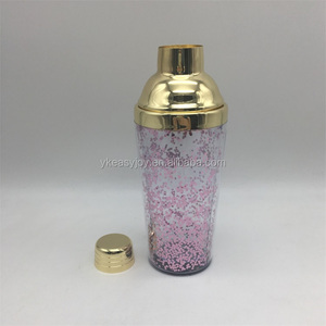 Novel New 450ml/16oz Gold Plated Stainless Steel Plastic Double Walls Bar Cocktail Martini Shaker/Mixer+Shiny Colorful Confetti