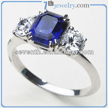 2013 Triple Diamond Stone Brass Cooper Platinum Plated Finger Ring Wedding/Engagement Rings With Blue CZ Diamonds