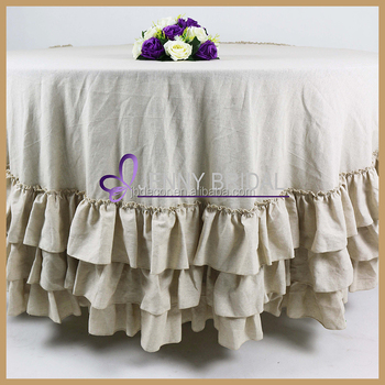 TC145A custom decorative cotton burlap ruffled wedding table cover linen table cloth for sale & Tc145a Custom Decorative Cotton Burlap Ruffled Wedding Table Cover ...