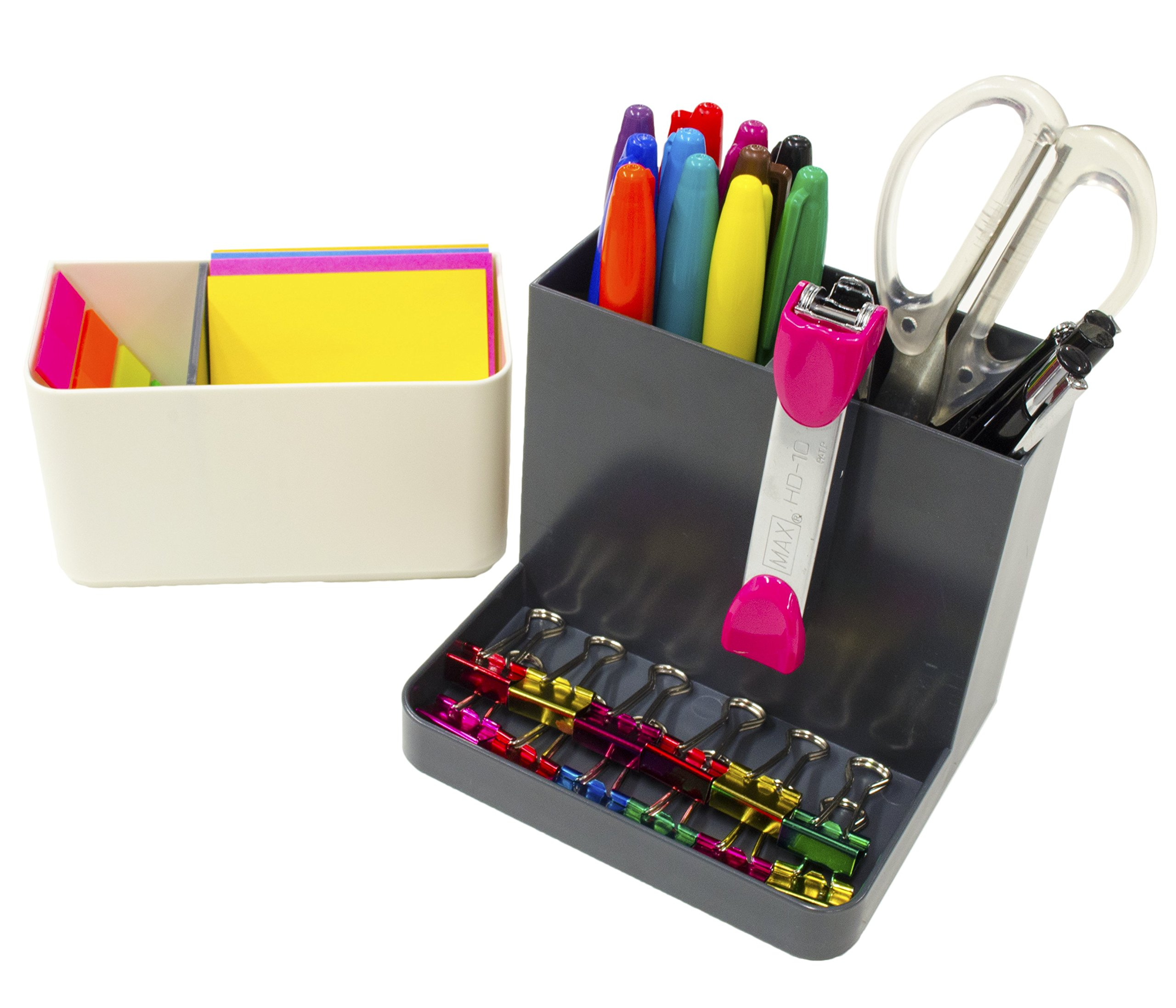 STYLIO Desk Organizer - Desktop Caddy, Pencil Holder for Office/ Home/ Teaching/ School Supplies - Storage for Cubicle Accessories, Pen, Markers, Paper Clips, Crayons, iPhone - Classroom Organization