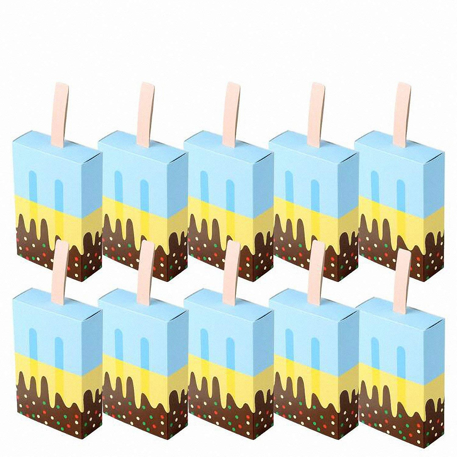 Baolustre 50Pcs Ice Cream Shape Gift Boxes Baby Shower Birthday Party Candy Box Cartoon Drawer Gift Bag For Kids Party Favor Box Blue