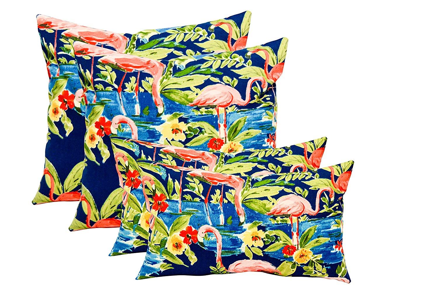 "Set of 4 Indoor / Outdoor Pillows - 17"" Square Throw Pillows & Rectangle / Lumbar Decorative Throw Pillows - Waverly Sun N Shade- Blue Pink Elegant Flamingo Flamingoing Flamingos"