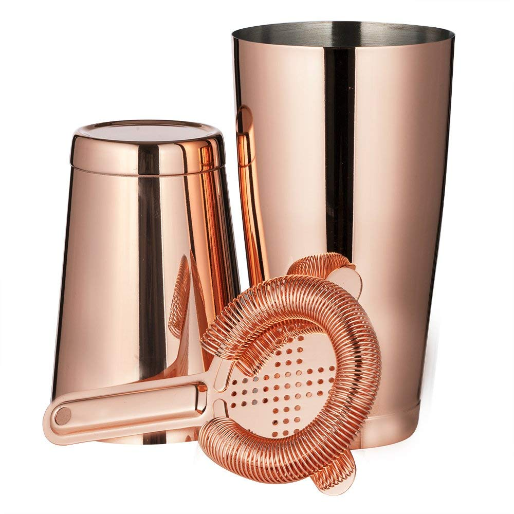 weighted and thickened copper boston shaker set