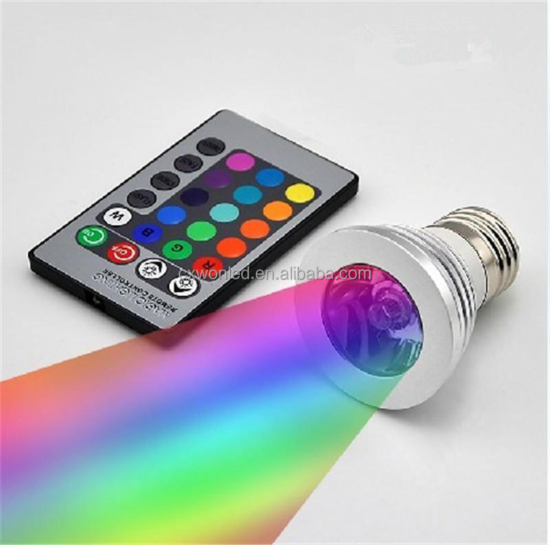 3W LED RGB Bulb 16 Color Changing LED Spot lights RGB ac85-265v E27 GU10 mr16 led rgb remote control <strong>spotlight</strong> 12v