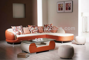 Simple Stylish Living Room Leather Sofa Set,L Shaped Corner ...