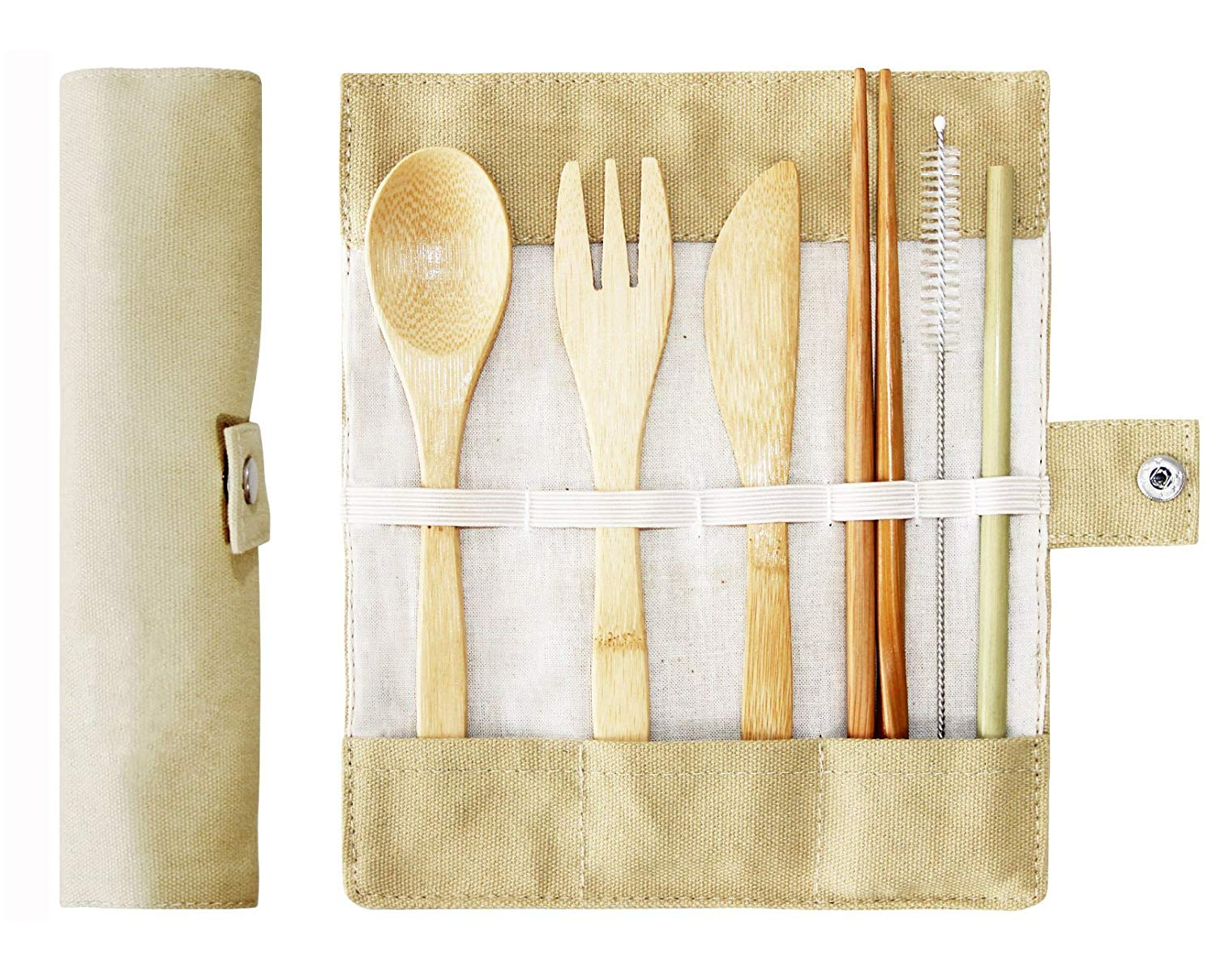 Bamboo Cutlery Set,Travel Cutlery Set,Bamboo Travel Utensils,Wooden Cutlery Set, Reusable Portable, Perfect For Outdoor Camping,Travel,Lunch At Work(Fork,Spoon,Knife,Chopsticks, Straw And Brush)