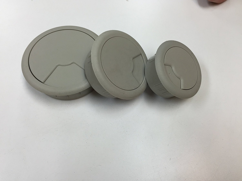 """3-Pack Round Desk Grommet Kit - Sizes 2"""",2.375"""" & 3.125"""", Plastic, Color: Battleship Gray"""