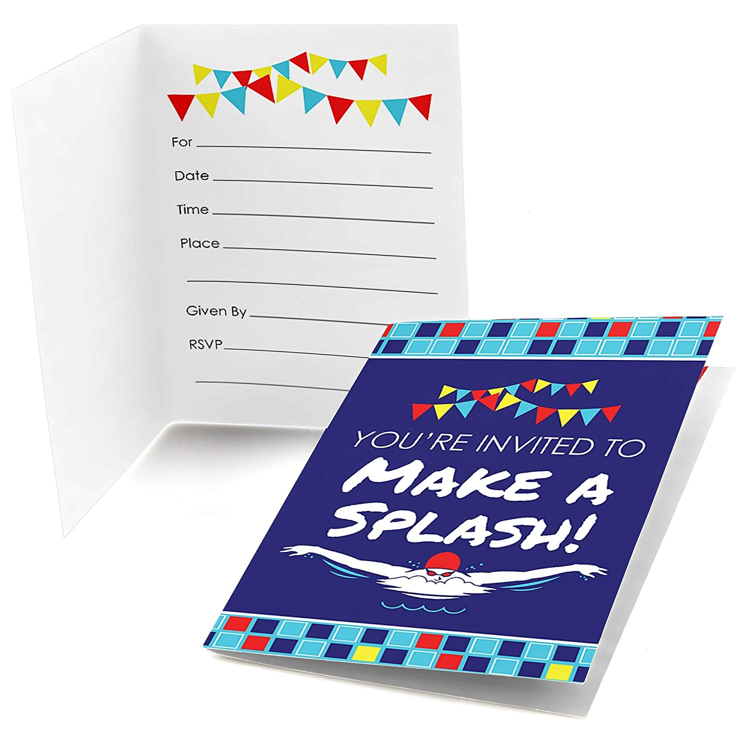 Making Waves - Swim Team - Fill In Swimming Party or Birthday Party Invitations (8 count)